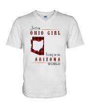 OHIO GIRL LIVING IN ARIZONA WORLD V-Neck T-Shirt thumbnail
