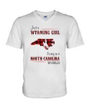 WYOMING GIRL LIVING IN NORTH CAROLINA WORLD V-Neck T-Shirt thumbnail