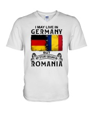 LIVE IN GERMANY BEGAN IN ROMANIA V-Neck T-Shirt thumbnail