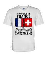 LIVE IN FRANCE BEGAN IN SWITZERLAND V-Neck T-Shirt thumbnail