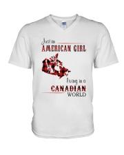 AMERICAN GIRL LIVING IN CANADIAN WORLD V-Neck T-Shirt thumbnail