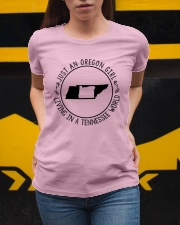 OREGON GIRL LIVING IN TENNESSEE WORLD Ladies T-Shirt apparel-ladies-t-shirt-lifestyle-04