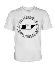 OREGON GIRL LIVING IN TENNESSEE WORLD V-Neck T-Shirt thumbnail