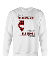 OKLAHOMA GIRL LIVING IN ILLINOIS WORLD Crewneck Sweatshirt thumbnail