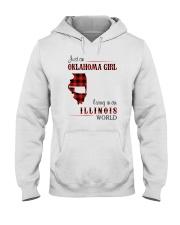 OKLAHOMA GIRL LIVING IN ILLINOIS WORLD Hooded Sweatshirt thumbnail