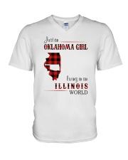 OKLAHOMA GIRL LIVING IN ILLINOIS WORLD V-Neck T-Shirt thumbnail