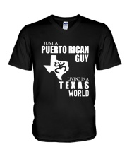 JUST A PUERTO RICAN GUY LIVING IN TEXAS WORLD V-Neck T-Shirt thumbnail