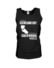 JUST A CLEVELAND GUY LIVING IN CALIFORNIA WORLD Unisex Tank thumbnail