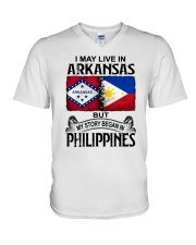 LIVE IN ARKANSAS BEGAN IN PHILIPPINES V-Neck T-Shirt thumbnail