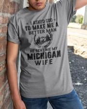 HE SENT ME MY MICHIGAN WIFE Classic T-Shirt apparel-classic-tshirt-lifestyle-27