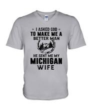 HE SENT ME MY MICHIGAN WIFE V-Neck T-Shirt thumbnail