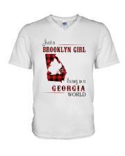 BROOKLYN GIRL LIVING IN GEORGIA WORLD V-Neck T-Shirt thumbnail