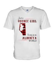 QUEBEC GIRL LIVING IN ALBERTA WORLD V-Neck T-Shirt thumbnail