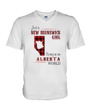NEW BRUNSWICK GIRL LIVING IN ALBERTA WORLD V-Neck T-Shirt thumbnail