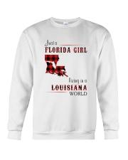 FLORIDA GIRL LIVING IN LOUISIANA WORLD Crewneck Sweatshirt thumbnail
