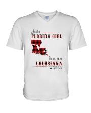 FLORIDA GIRL LIVING IN LOUISIANA WORLD V-Neck T-Shirt thumbnail