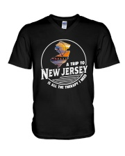 A TRIP TO NEW JERSEY IS ALL THE THERAPY V-Neck T-Shirt thumbnail