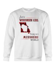 WISCONSIN GIRL LIVING IN MISSOURI WORLD Crewneck Sweatshirt thumbnail