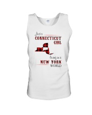 CONNECTICUT GIRL LIVING IN NEW YORK WORLD Unisex Tank thumbnail