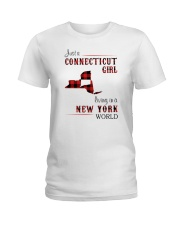 CONNECTICUT GIRL LIVING IN NEW YORK WORLD Ladies T-Shirt thumbnail