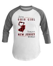 OHIO GIRL LIVING IN JERSEY WORLD Baseball Tee thumbnail
