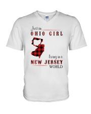 OHIO GIRL LIVING IN JERSEY WORLD V-Neck T-Shirt thumbnail