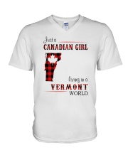 CANADIAN GIRL LIVING IN VERMONT WORLD V-Neck T-Shirt thumbnail