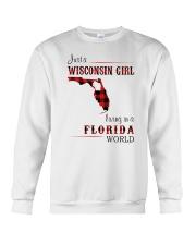 WISCONSIN GIRL LIVING IN FLORIDA WORLD Crewneck Sweatshirt thumbnail