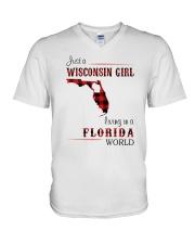 WISCONSIN GIRL LIVING IN FLORIDA WORLD V-Neck T-Shirt thumbnail