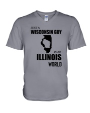 JUST A WISCONSIN GUY IN AN ILLINOIS WORLD V-Neck T-Shirt thumbnail