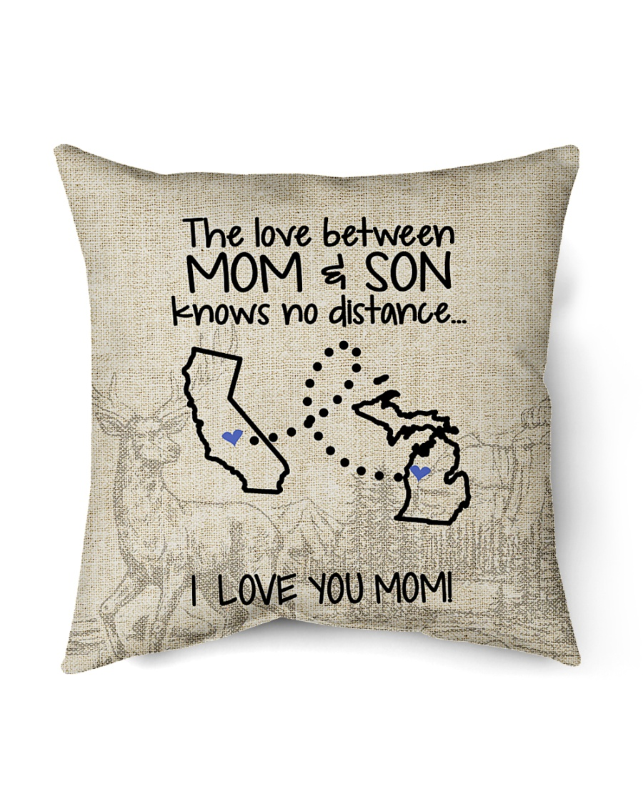 "MICHIGAN CALIFORNIA THE LOVE MOM AND SON Indoor Pillow - 16"" x 16"""
