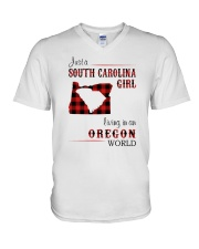 SOUTH CAROLINA GIRL LIVING IN OREGON WORLD V-Neck T-Shirt thumbnail