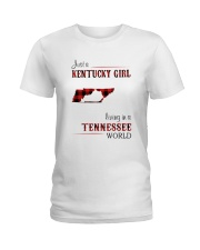 KENTUCKY GIRL LIVING IN TENNESSEE WORLD Ladies T-Shirt thumbnail