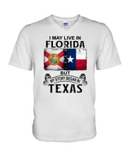LIVE IN FLORIDA BUT MY STORY BEGAN IN TEXAS V-Neck T-Shirt thumbnail