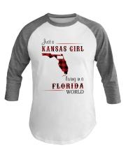KANSAS GIRL LIVING IN FLORIDA WORLD Baseball Tee thumbnail