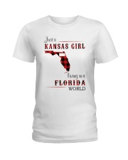 KANSAS GIRL LIVING IN FLORIDA WORLD Ladies T-Shirt thumbnail