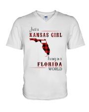 KANSAS GIRL LIVING IN FLORIDA WORLD V-Neck T-Shirt thumbnail
