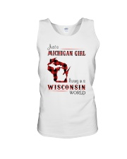 MICHIGAN GIRL LIVING IN WISCONSIN WORLD Unisex Tank tile