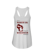 MICHIGAN GIRL LIVING IN WISCONSIN WORLD Ladies Flowy Tank thumbnail