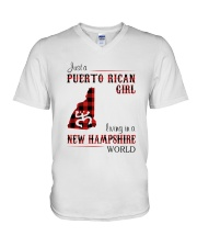 PUERTO RICAN GIRL LIVING IN NEW HAMPSHIRE WORLD V-Neck T-Shirt tile