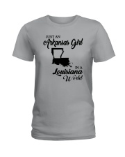 JUST AN ARKANSAS GIRL IN A LOUISIANA WORLD Ladies T-Shirt front