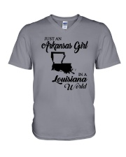 JUST AN ARKANSAS GIRL IN A LOUISIANA WORLD V-Neck T-Shirt thumbnail