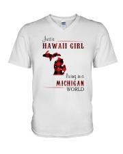 HAWAII GIRL LIVING IN MICHIGAN WORLD V-Neck T-Shirt thumbnail