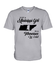 JUST A MISSISSIPPI GIRL IN A TENNESSEE WORLD V-Neck T-Shirt thumbnail
