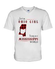 OHIO GIRL LIVING IN MISSISSIPPI WORLD V-Neck T-Shirt thumbnail