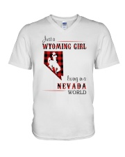 WYOMING GIRL LIVING IN NEVADA WORLD V-Neck T-Shirt thumbnail