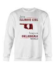 ILLINOIS GIRL LIVING IN OKLAHOMA WORLD Crewneck Sweatshirt thumbnail