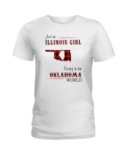 ILLINOIS GIRL LIVING IN OKLAHOMA WORLD Ladies T-Shirt thumbnail