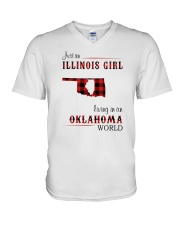 ILLINOIS GIRL LIVING IN OKLAHOMA WORLD V-Neck T-Shirt thumbnail