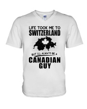 CANADIAN GUY LIFE TOOK TO SWITZERLAND V-Neck T-Shirt thumbnail